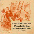 Boys' clothing department, Wilmot's Clothing House, 261 & 263 Washington Street, Boston.