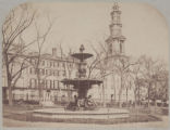[No. 2 Park Street, home of Jonathan Mason Warren, from the Boston Common, Brewer fountain in the...