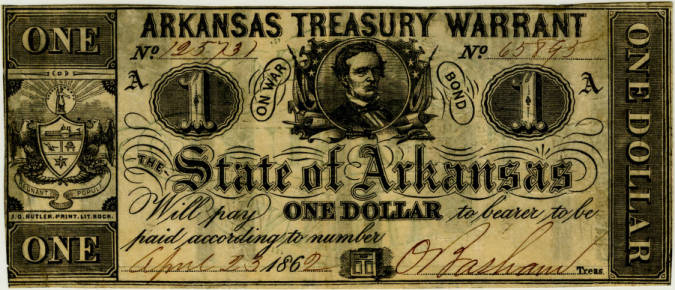 Confederate Arkansas currency, 1 dollar bills, types 30 and 34